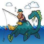 Fiskaren och dinosaurie — Stockvektor