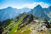 Rocky mountains view seen from Lomnicke sedlo in High Tatras, Sl — Stock Photo