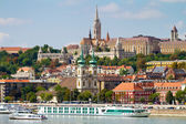 View of Buda side of Budapest with the Castle, St. Matthias and — Stock Photo