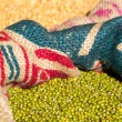 Stock Photo: Green mung beans in canvas sack background