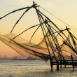 Chinese fishing net at sunrise in Cochin (Fort Kochi), Kerala, India — Stock Photo