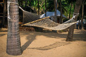 Palms with hammock on the sea cost in resort — Stock Photo