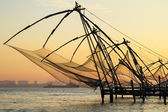 Chinese fishing net at sunrise in Cochin (Fort Kochi), Kerala, India — Stockfoto