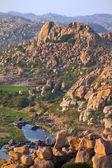 Thungabhandra river landscape in Hampi, Karnataka, India — Stock Photo