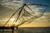 Chinese fishing net at sunrise in Cochin (Fort Kochi), Kerala, India — Stock Photo