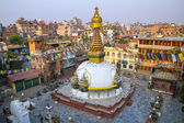 Kathesimbu Stupa with Buddha wisdom eyes and prayer colorful flags in Kathmandu, Nepal — Stock Photo