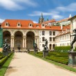 Waldstein palace garden (Valdstejnska Zahrada) and building of the Senate of Czech Republic in Prague — Stock Photo