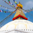 Buddhist shrine Boudhanath Stupa with Buddha wisdom eyes — Stock Photo