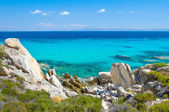 Rocky coastline and a beautiful clear water at Halkidiki Kassandra — Stock Photo