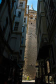 Galata Tower seen through the narrow streets. Istanbul, Turkey — Стоковое фото