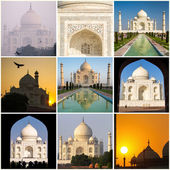 Taj Mahal collage made of nine various photos — Stock Photo