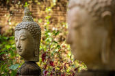 Stone Buddha head statue — Stock Photo