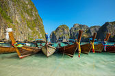 Longtail boats in Maya Bay — Стоковое фото