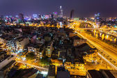 Night view of Saigon traffic — Stock Photo