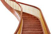 Wooden staircase isolated on white — Stok fotoğraf