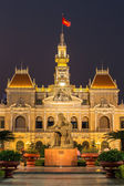 The City Hall in Ho Chi Minh City, Vietnam at night — Stock Photo