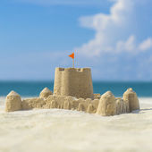 Sand castle on  beach — Stock Photo