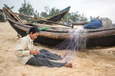 Unidentified fisherman — Stock Photo