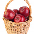 Basket of red apples on white background — Stock Photo