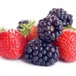 Strawberry and blackberry on white background — Stock Photo