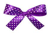 Violet gift satin ribbon bow on white background — Stock Photo