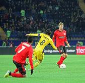 Metalist Kharkiv vs Bayer Leverkusen match — Stockfoto