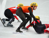 Ladies' 1000 m Heats Short Track Heats — 图库照片