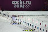 Biatlon vrouwen 7,5 kilometer sprint — Stockfoto