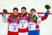 Freestyle skiing Men's Moguls Final — Stock Photo