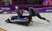 Dos hombres de bobsleigh calor — Foto de Stock