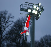 Freestyle Skiing. Men's Aerials Qualification — Stock Photo
