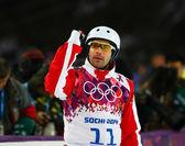 Akrobatické lyžování. pánské antény kvalifikace — Stock fotografie