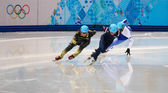 Men's 500 m Short Track Heats — Stock Photo