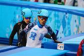 Men's 500 m Short Track Heats — Stock Photo