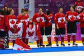 Lední hokej. Dámské zlaté medaile hra — Stock fotografie