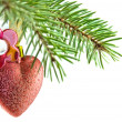 Heart fnd flower Ball christmas — Stock Photo