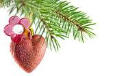 Heart fnd flower Ball christmas — Stock Photo