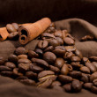 Coffee beans and cinnamon — Stock Photo