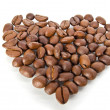 Coffee beans in the shape of heart — Stock Photo