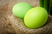 Green Easter eggs — Stock Photo