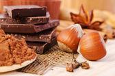 Czekolada, przyprawy i orzechów słodki żywności — Zdjęcie stockowe
