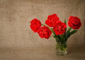Red tulips on burlap — Stock Photo