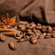 Coffee beans with stars of anise and cinnamon sticks — Stock Photo