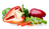 Colorful juicy peppers isolated on white background — Stock Photo