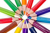 Beautiful multi-colored pencils isolated on white background — Stock Photo