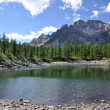Alpine lake panorama - Stock Photo