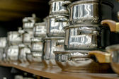 Stainless steel pots — Foto Stock