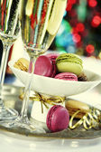 Colorful macaroons and Champagne — Stock Photo