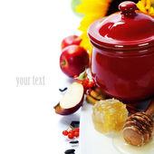 Honey and apples — Stock Photo