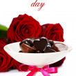 Red roses and hearts for Valentine - Foto Stock